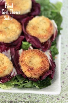 """Fried Goat Cheese Salad - I wonder if I can find """"clean"""" Italian bread crumbs..."""