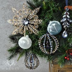 ブルージュエルラウンドオーナメント|クリスマス雑貨の通販【マテリ】 |