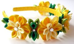 Yellow Kanzashi Fabric Flower headband. Yellow flower by JuLVa