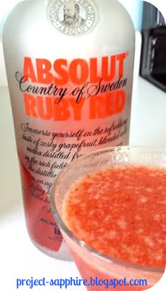 Skinny Ruby Red Summer Slushie - 2 oz. Absolut Ruby Red Vodka, 1 cup of Water, 1 tbsp. Stevia, 1/2 Cup frozen Strawberries, 1 Dole (4oz.) Mandarin Cup in 100% fruit Juice