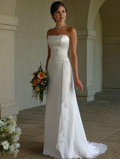 Sheath / Column Scoop Strapless Empire Satin Chiffon Wedding Dress