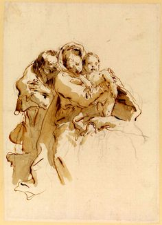 Holy Family Late Tiepolo, Giovanni Battista more Chalk (black), pen and ink, wash on paper Ink Painting, Figure Painting, Figure Drawing, Ink Pen Drawings, Drawing Sketches, Storyboard, Rembrandt Drawings, Sword Drawing, Art Postal