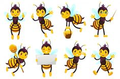 Mascota de abeja de dibujos animados. cu... | Premium Vector #Freepik #vector #logo #comida #icono #naturaleza Cartoon Cartoon, Bee Drawing, Bee Happy, Illustration, Character Design, Drawings, Logo Food, Honey, Yellow