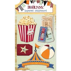 Carnival Layered Chipboard Pack Bo Bunny Beach Ball Ticket Rides Circus Tent Amusement Park Games Clowns Shows Popcorn Stickers Scrapbook by InkyHotMess on Etsy