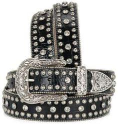 Nocona® Ladies Black Mock Croc Belt With Crystals & Studs | Cavender's