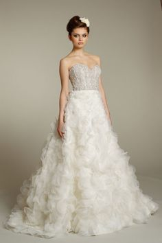 Lazaro Floral Ball Gown with Jewel Encrusted Corset for Nearly Newlywed