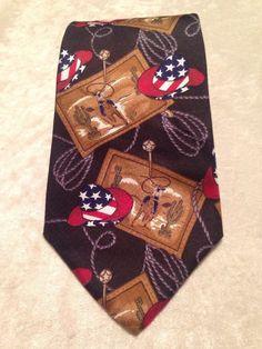 American Traditions Cowboy Rodeo  Silk Tie Made In USA #AmericanTraditions #NeckTie