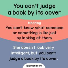 Can you judge a book by its cover? English Vinglish, English Tips, English Study, English Lessons, Learn English, English Phrases, English Idioms, English Words, English Grammar