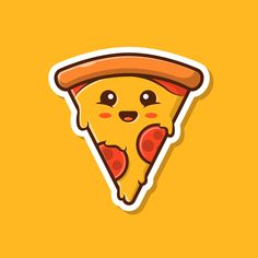 Cute Pizza Sticker Waterproof For Laptops, Cars, Water Bottles , High Quality Stickers Cute Pizza, Make Your Own Stickers, Cute Cartoon, Painted Rocks, Vinyl Decals, Doodles, Creative, Happy, Star Pizza