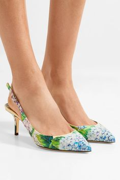 Dolce & Gabbana - Floral-print Glossed-leather Slingback Pumps - Blue - IT36