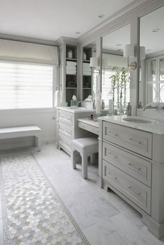 Bathroom tiles, master bathroom layout, light grey bathrooms, master bath v Master Bathroom Vanity, Master Bathroom Layout, Bathroom Colors, Master Bathrooms, Bathroom Vanities, Bathroom With Makeup Vanity, Master Bath Tile, Gray Vanity, Master Baths