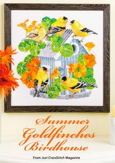Summer Goldfinches Birdhouse from the Jul/Aug 2015 issue of Just CrossStitch Magazine. Order a digital copy here: https://www.anniescatalog.com/detail.html?prod_id=125655