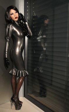 grey latex dress