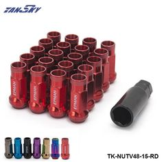 TANSKY - Racing RED 48MM Steel Open Exhtended Wheel Acorn Rim Lug Nuts Set 12*1.5 Tuner 20Pcs With Key TK-NUTV48-15-RD