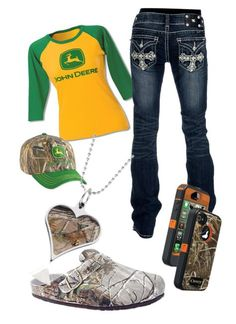 """John deere"" by barrelracer93 ❤ liked on Polyvore featuring John Deere, Miss Me and Realtree"
