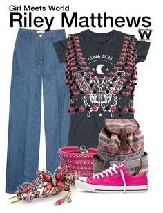 """""""Girl Meets World"""" by wearwhatyouwatch ❤ liked on Polyvore featuring Valentino, Sif Jakobs Jewellery, Aéropostale, Converse, television and wearwhatyouwatch"""