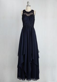 Advocate of Extravagance Maxi Dress in Navy. Without saying a word, you use this navy ball gown to express your dedication to divine style. #blue #modcloth