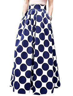 Casual chic polka dot maxi skirt. Comes in blue, red and black at $14.99