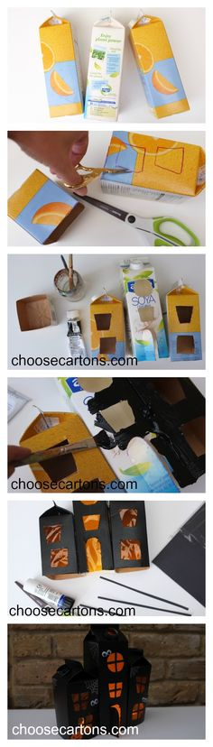 Fabulously spooky HAUNTED HOUSE made from recycled juice/ milk cartons. Love these little haunted houses for Halloween. Use them as fabulous Halloween Decorations or for play.