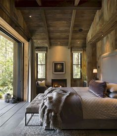 Rustic Bedroom by Jennifer Robin Interiors - Architecture and Home Decor - Bedroom - Bathroom - Kitchen And Living Room Interior Design Decorating Ideas - Farmhouse Style Bedrooms, Farmhouse Master Bedroom, Rustic Bedrooms, Master Bedrooms, Master Suite, Woodsy Bedroom, Quirky Bedroom, Aesthetic Bedroom, Modern Bedroom