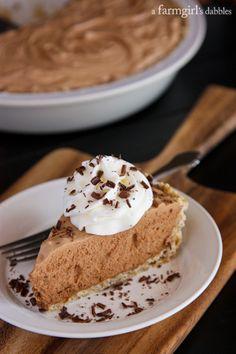 Chocolate French Silk Pie with Salted Pecan Crust - afarmgirlsdabbles.com