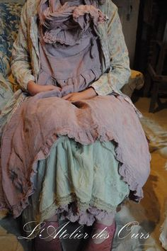 "MISS ROSALINE: old pink linen dress and matching panty ""The Bear"", organdy petticoat ""Ewa IWalla"" jacket liberty ""NADIR"" ..."