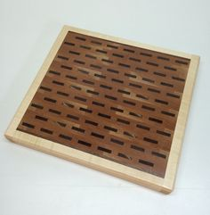 Beech end grain butcher block with large, offset walnut splines, bordered in hard maple by HartmanWoodworks on Etsy