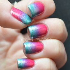 Pink and teal nail polish. Did this to my nails and wanted to show it, so I found this.
