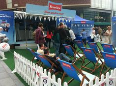 Freeview Great British Tea Party summer experiential campaign - Join the Freeview team on Paradise Place to watch TV, enjoy free tea & cake & relax on the deck chairs - http://www.promomarketing.info/experiential/freeview-great-british-tea-party-summer-experienti/18727