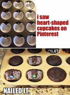 """""""Unless round is the new heart, I missed something here. These choking-hazard cupcakes are probably not welcome at a Preschool that won't even allow lollipops. Cooking Fails, Food Fails, Fail Nails, Heart Cupcakes, Pinterest Fails, Pinterest Projects, New Heart, I Feel Good, Funny Fails"""
