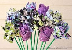 stemmed fabric lotus flowers - what a beautiful gift to give as a  housewarming or to a girlfriend for birthday!!!