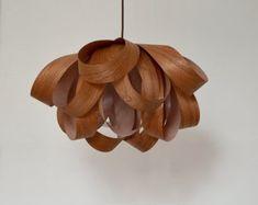 Lampe de pendentif fleur romantique, placage de bois Sapelli, un excellent éclairage décoratif pour l'intérieur, plafonnier, suspension, lustre Eclairage