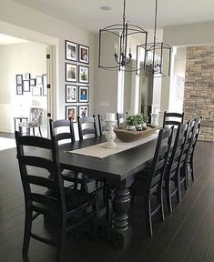 119 Marvelous Modern Farmhouse Dining Room Design Ideas - Page 30 of 120 Black Dining Room Table, Farmhouse Dining Room Table, Dining Room Design, Black Table, Black Dining Room Furniture, Black Dining Tables, Console Tables, Dining Rooms, Dining Area