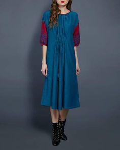 Emerald Tunic With Contrast Sleeves