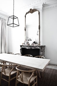 desire to inspire - desiretoinspire.net - MilK - gorgeous dining room with fireplace & mirror