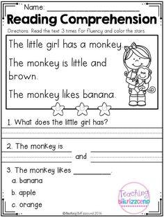 Kindergarten reading comprehension worksheets set 1 and grade year work . Reading Comprehension Worksheets, Reading Fluency, Reading Passages, Kindergarten Reading, Kindergarten Worksheets, Reading Strategies, Comprehension Strategies, Reading Activities, Reading Skills