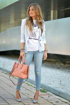 Baby blue blazer white tee jeans heals