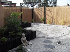 Gravel and stepping stones onto main patio-paving. Like this?
