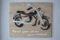 Never Give Up Modern Wood Art Wall Large Wood Wall Art Motorcycle Gift Motorcycle Decor Harley Davidson Art Motorbike Art Motorbike Gifts