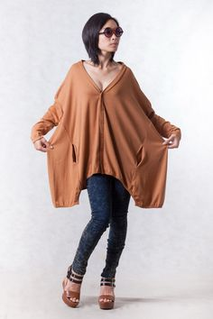 NO.155 Terracotta Cotton-Blend Jersey Cardigan Slouchy Pattern Top