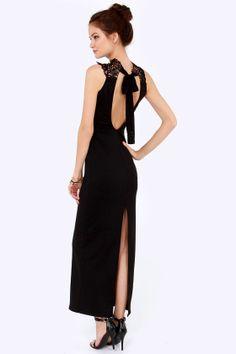 Line and dot black sequin maxi dress