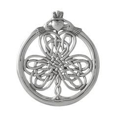 Celtic Knot Shamrock Claddagh Pin