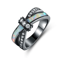 Shop for Black Rhodium Plated White Fire Opal & CZ Crisscross Engagement Ring - Multi. Get free delivery On EVERYTHING* Overstock - Your Online Jewelry Shop! Cross Jewelry, Cute Jewelry, Jewelry Rings, Jewelry Watches, Fantasy Jewelry, Gothic Jewelry, Cubic Zirconia Engagement Rings, Magical Jewelry, Beautiful Engagement Rings