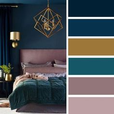 15 Best Color Schemes for Your Bedroom – Gold + Mauve + navy blue and green teal color inspiration #color #bedroom #colorpalette