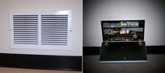 air vent safe Hide Your Valuable Stuff with Air Vent Secret Compartment Secret Hiding Places, Hiding Spots, Hidden Places, Secret Space, Secret Rooms, Secret Box, Hidden Safe, Hidden Storage, Secret Storage