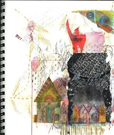 https://flic.kr/p/3j12nb   skchbk.  waving from the roof   mixed media drawing/collage, with coloured pencil, graphite, stamps, found paper, reworked paper.