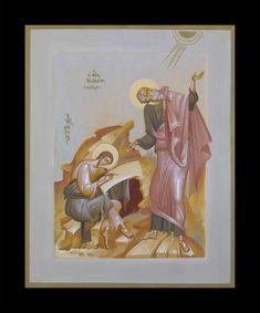 SAINT JOHN THEOLOGIAN NAD PROHOROS, EGG TEMPERA ON WOOD, 40X50CM. Byzantine Icons, Byzantine Art, Religious Icons, Religious Art, Paint Icon, Modern Church, Best Icons, Catholic Art, Color Studies