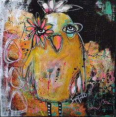 """""""Single Mom"""" - mixed media on cradled wood by Jacqui Fehl"""