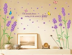 Kappier Beautiful Large Long Stem Lavender Flowers with Butterflies Waiting for the Arrival of Love Wall Decals -- Check this awesome product by going to the link at the image. Wall Stickers Home Decor, Wall Stickers Murals, Diy Wall Decor, Butterfly Wall Decals, Butterfly Wall Stickers, Butterfly Quotes, Wall Letter Decals, Vinyl Wall Decals, Lavender Walls