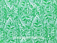 "Lilly Pulitzer Green Bean Stamped Cotton Poplin Fabric Hidden Giraffe  BTY x 57"""